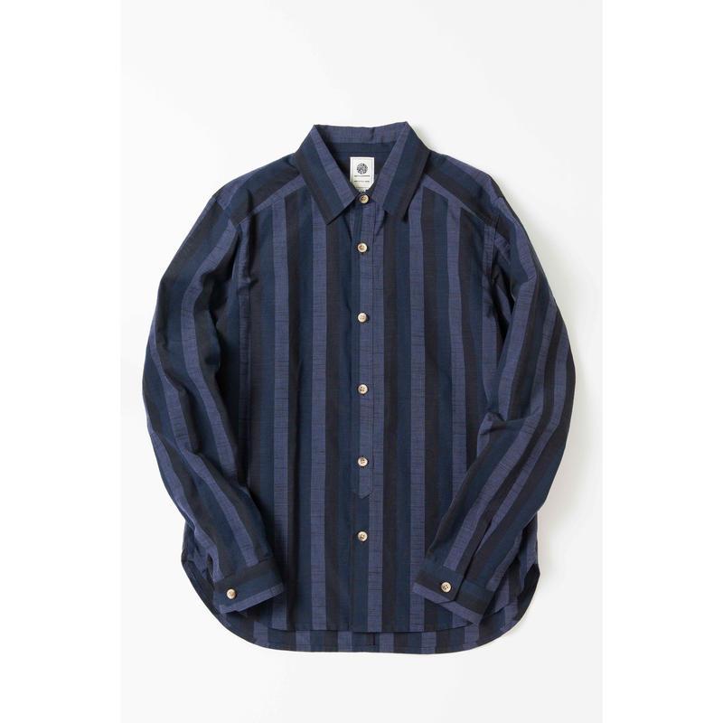 38 CMS / SH02 : 会津木綿 黒かつお縞SHIRT
