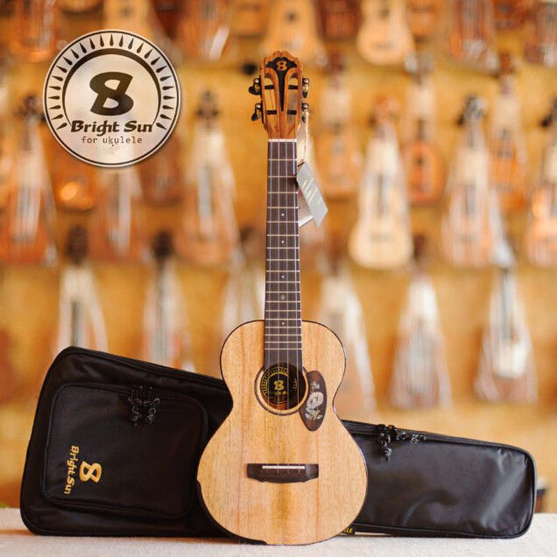 ◆【送料無料】Bright Sun ukulele!AAAA級上質マンゴーオール単板 テナーウクレレ スロテッド アームレスト BS60T◆
