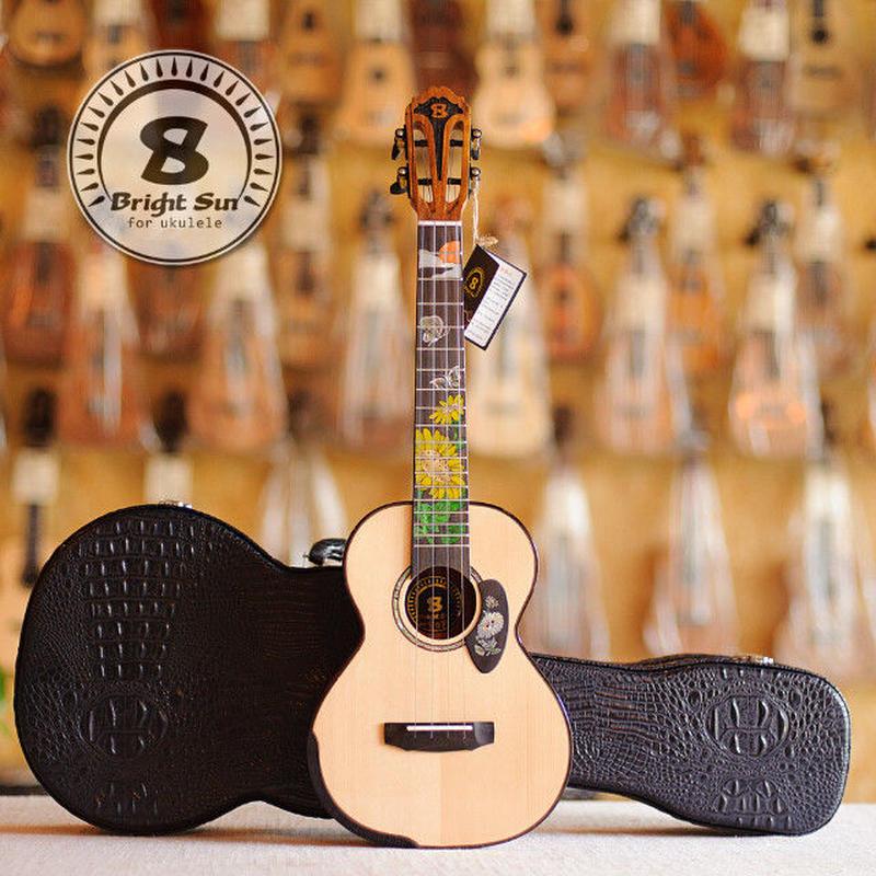◆Bright Sun ukulele!AAAA級上質スプルース&ローズウッド オール単板 テナーウクレレ スロテッド&インレイ BS-80T◆