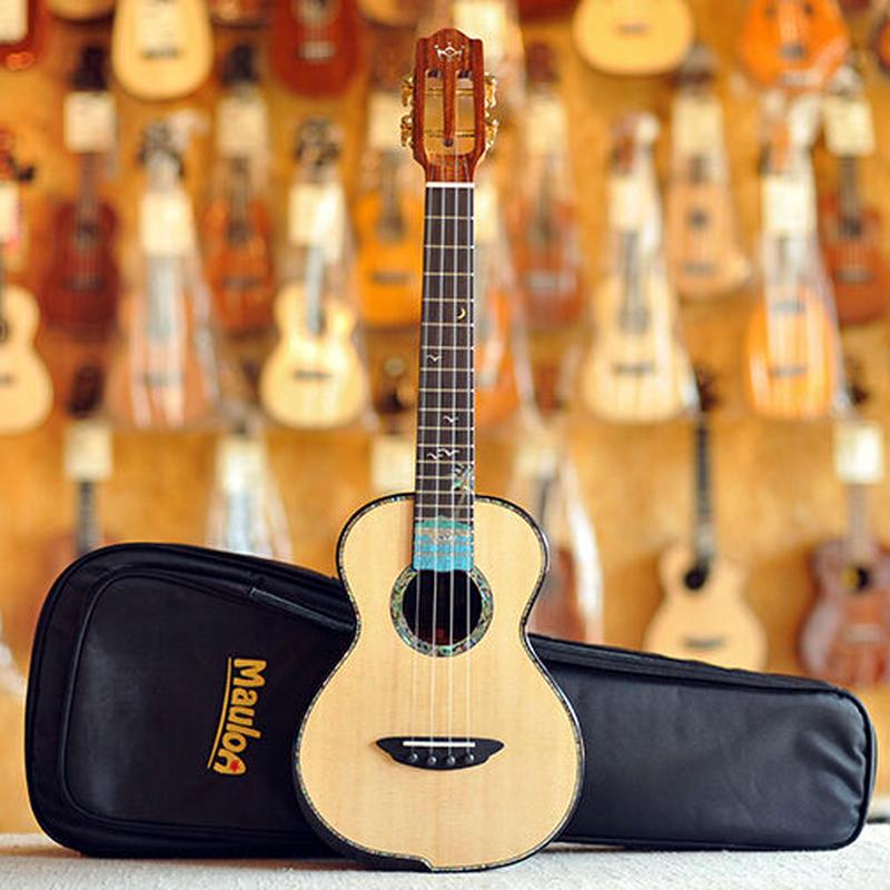 【ケース付き】美インレイ 劇鳴り Mauloa ukulele AAAAA級スプルース・サントスウッド単板 テナーウクレレ スロテッドヘッド TT-65◆