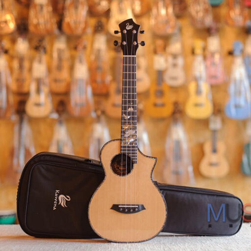 【ケース付き】美インレイ カッタウェイ Kawena ukulele AAAAA級スプルース・ローズウッドオール単板 テナーウクレレ KT-31CA◆