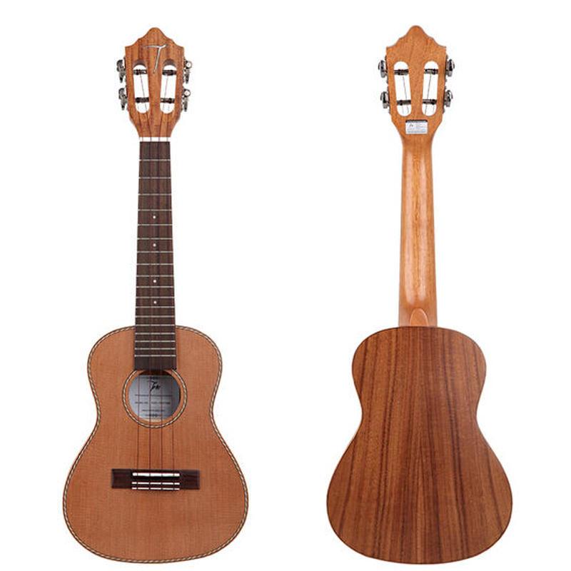 【おまけ付き】薄ボディー TOM ukulele AAAA級レッドパイン単板 アカシア材 テナーウクレレ 劇鳴り 完全手作り スロテッドヘッド TUT-790◆
