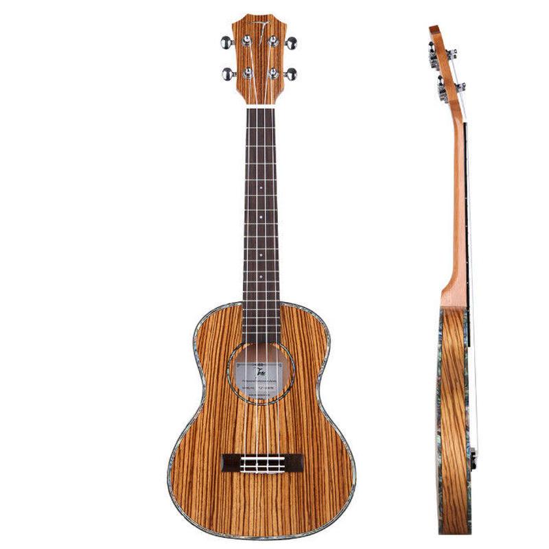 ◆美木目 薄ボディー 劇鳴り TOM ukulele AAA級ゼブラウッド単板 テナーウクレレ インレイ TUT-300◆