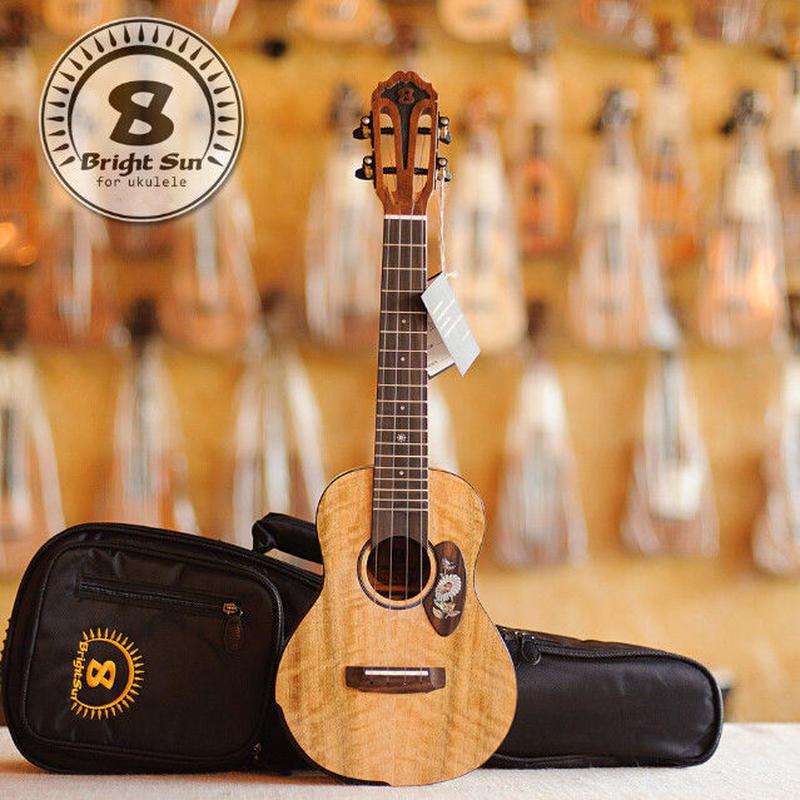 ◆【送料無料】Bright Sun ukulele!AAAA級上質マンゴーオール単板 コンサートウクレレ スロテッド アームレスト BS60C◆