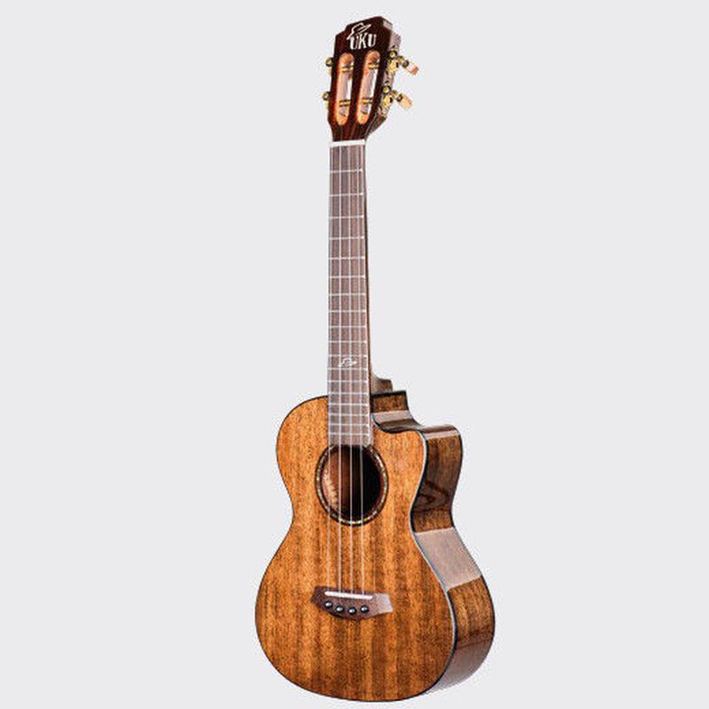 ◆美木目&劇鳴り UKU ukulele ピックアップ付 AAA級マホガニー単板 テナーウクレレ カッタウェイ インレイ MT◆