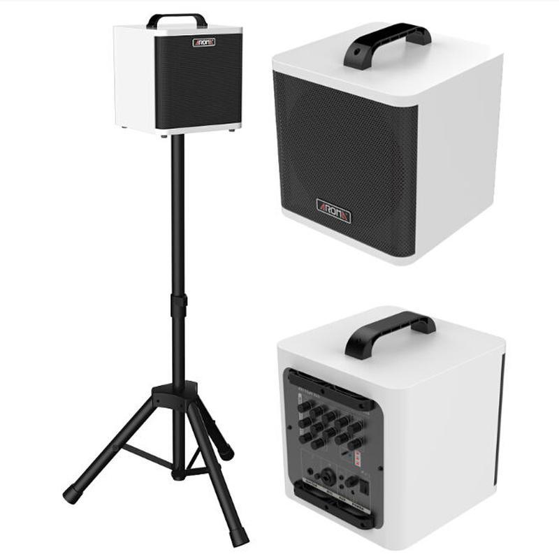◆AROMA 正方形40Wアンプ 迫力の重低音 ノイズカット ウクレレ・アコースティックギター用 コンパクト 充電池 2色◆