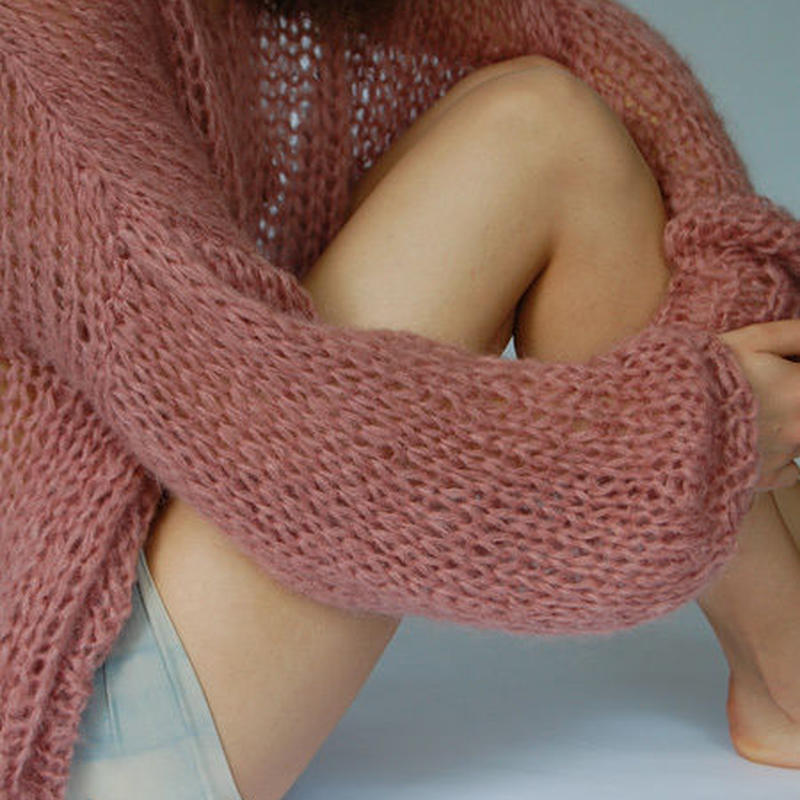 Barbara Munsel / バーバラ・マンセル - ワイドクロップドモヘアニットセーター (ソフトピンク)【ハンドメイド】【オランダ製】