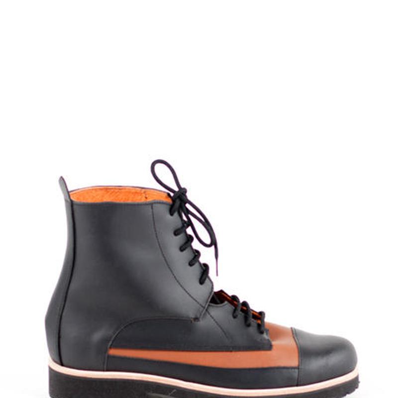 Deux Souliers (MENS) - Oxford Boot #1 Black-Natural ツートン・レースアップ・ショートブーツ (ブラック/ブラウン)【スペイン】【シューズ】