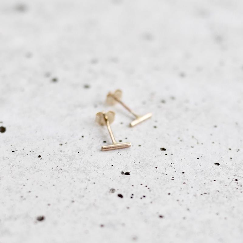 K10 tiny bar earrings
