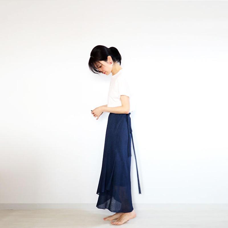 ◆予約◆Diphda[ディフダ] マキシ丈ラップ・スカート / ネイビー・ブルー
