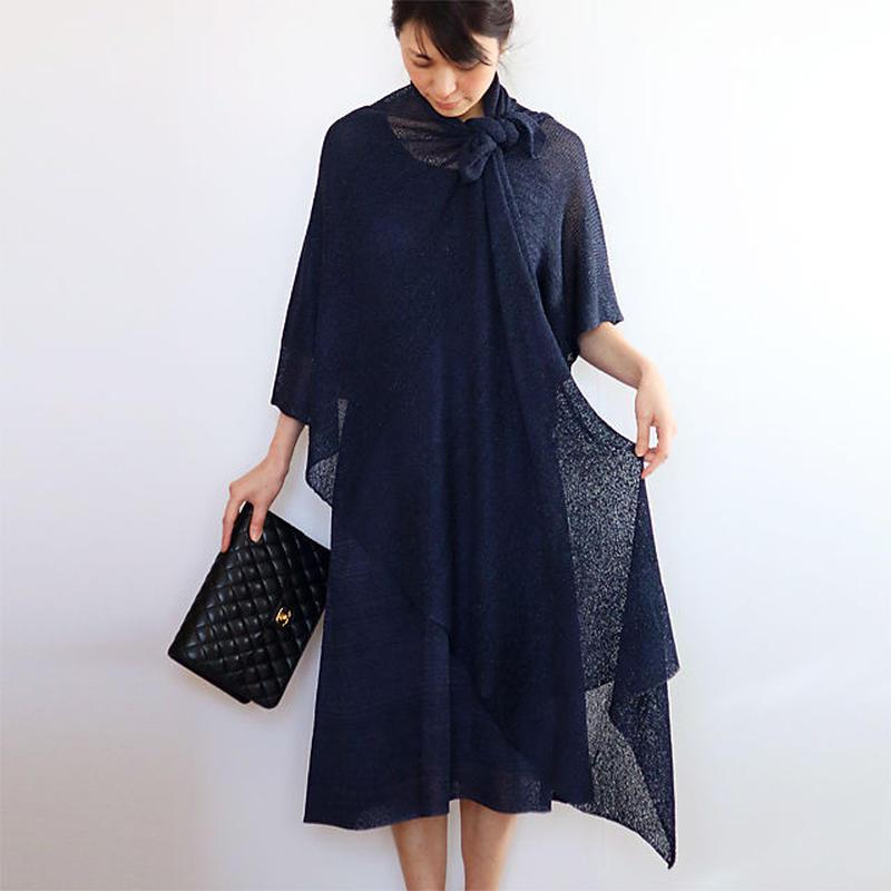 ◆即納◆Norma[ノルマ] ボーダーラメ・ベーシック・ストール / ネイビー・ブルー(紺ラメ入り)