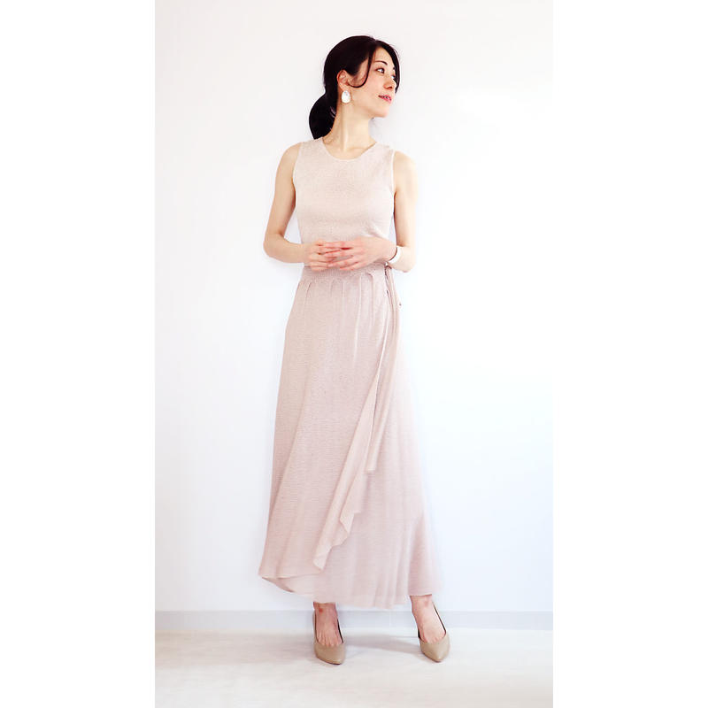 ◆即納◆Diphda[ディフダ] マキシ丈ラップ・スカート / ヌード・ベージュ