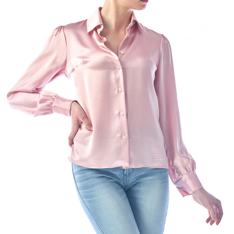 SILK LONG SLEEVES BLOUSE - PINK