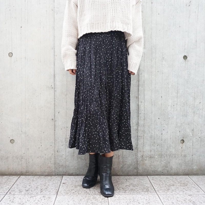 DEFORMED PATTERN CRAPE SKIRT