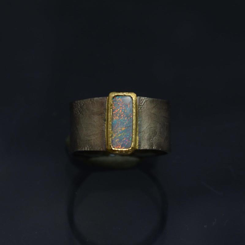 銀河のようなブラックオパールの指環 silver925/K22YG