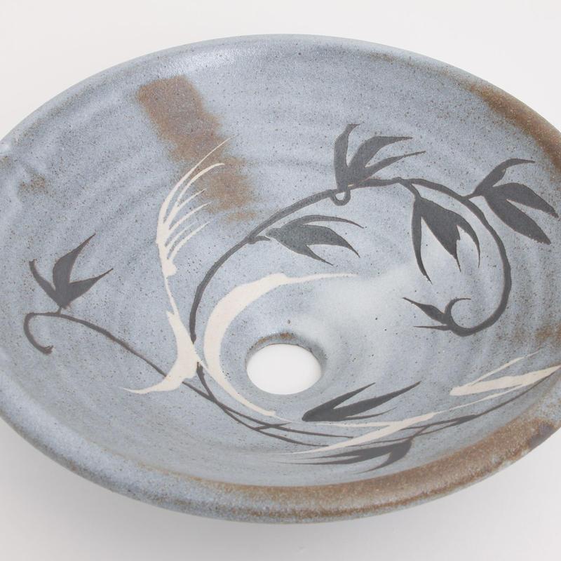 鼠志野草文(中)手洗い鉢