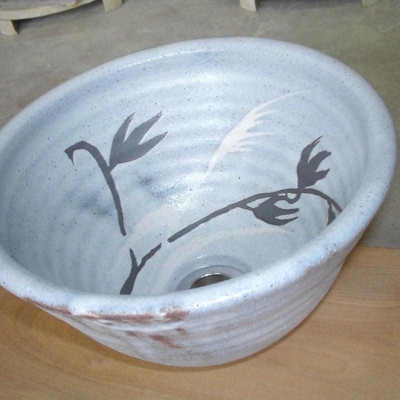 鼠志野草文(小)手洗い鉢