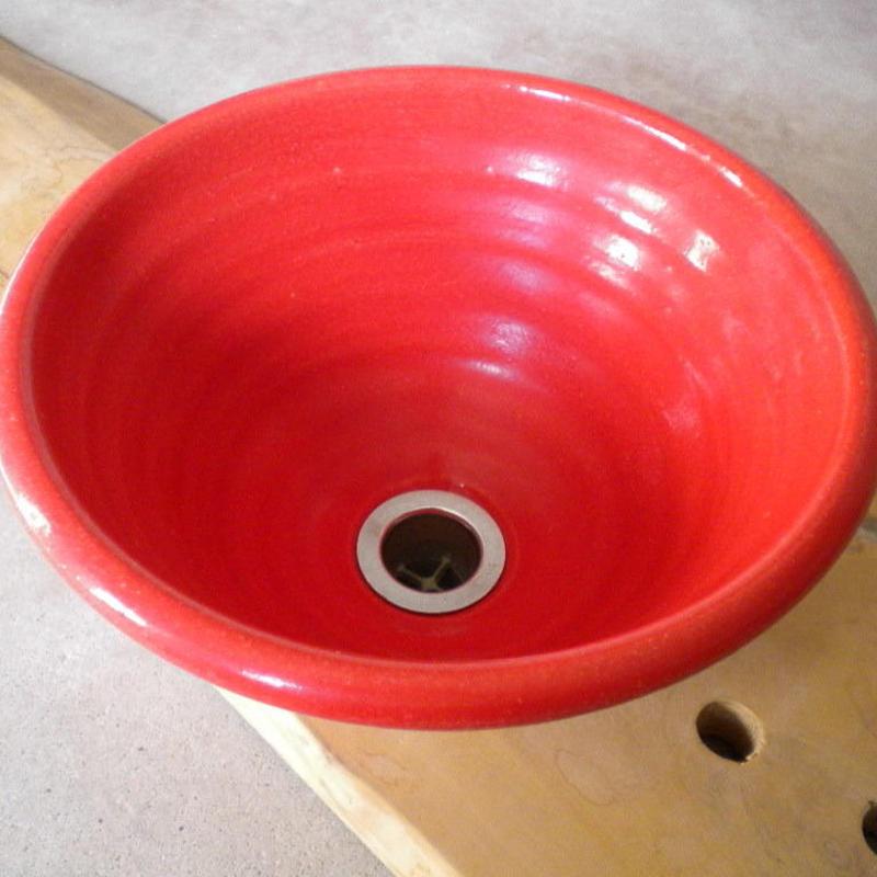 赤ガラス(小) 手洗い鉢 24㎝