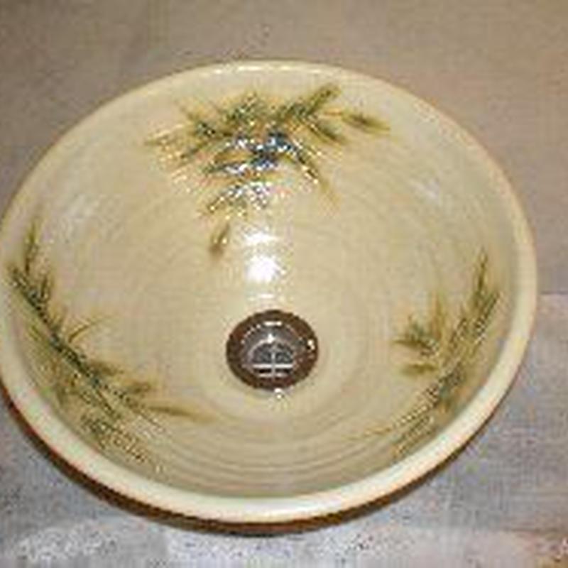 黄瀬戸南天(小)手洗い鉢