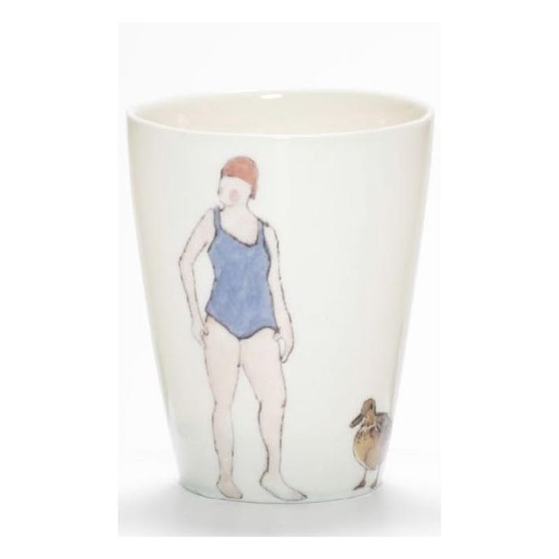 Swimmer Beaker with Lady lilac costume, red cap and duck