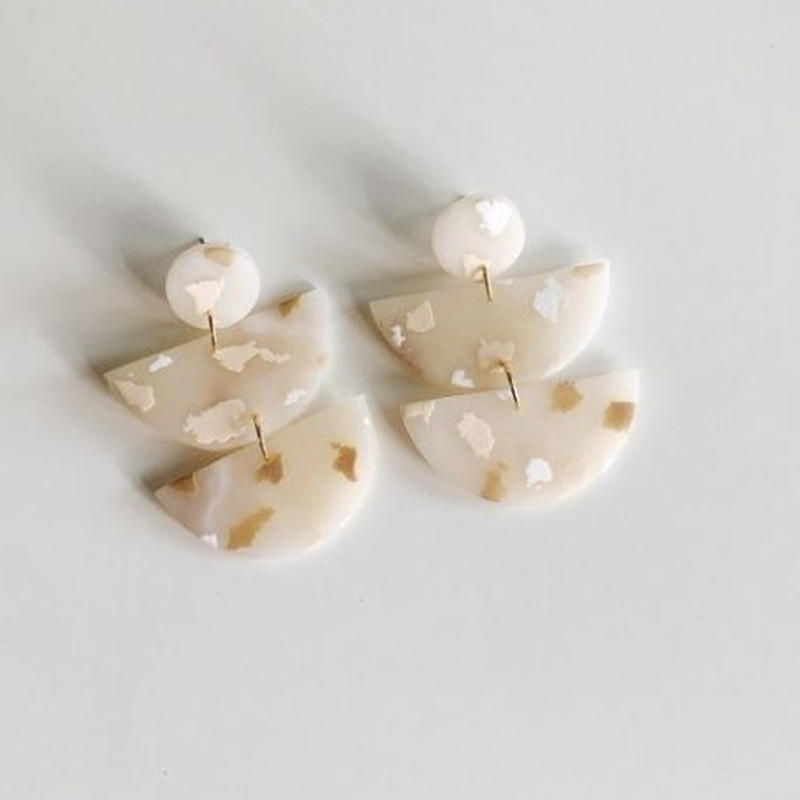 Nude Terrazzo Half Moon Earrings