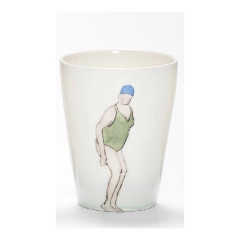 Swimmer Beaker with Lady green costume, blue cap