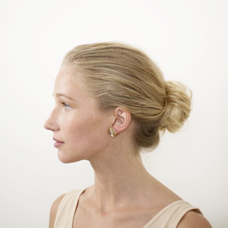 Block Earrings in Calico