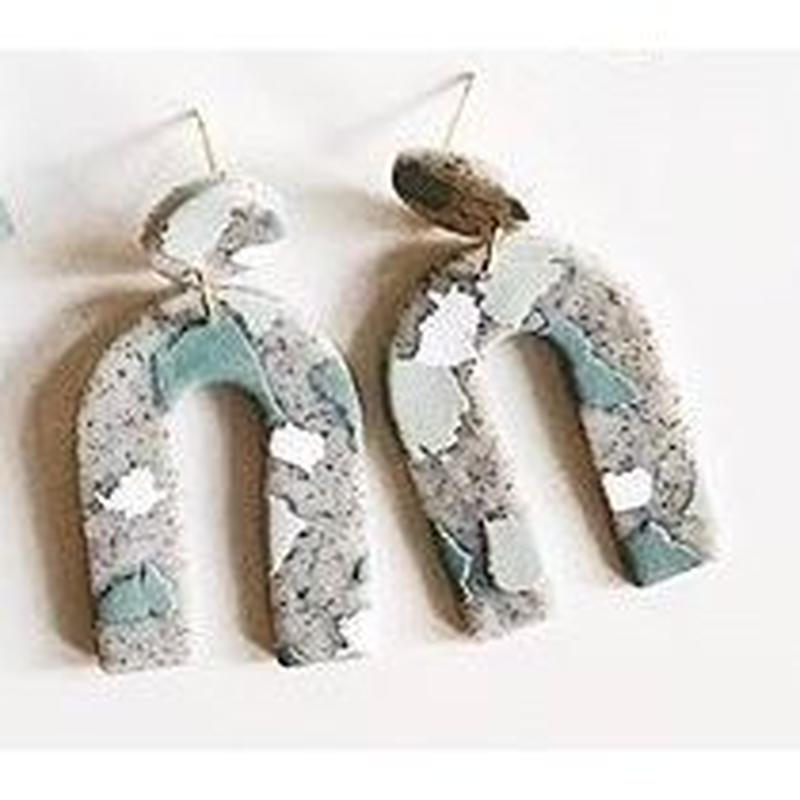 Mint Terrazzo Arc Earrings