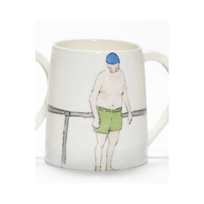 Swimmer Mug with Man green shorts, blue cap