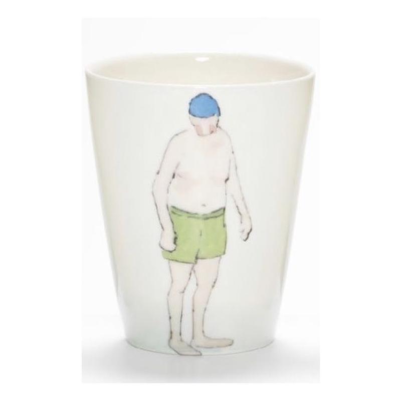 Swimmer Beaker with Man green shorts, blue cap