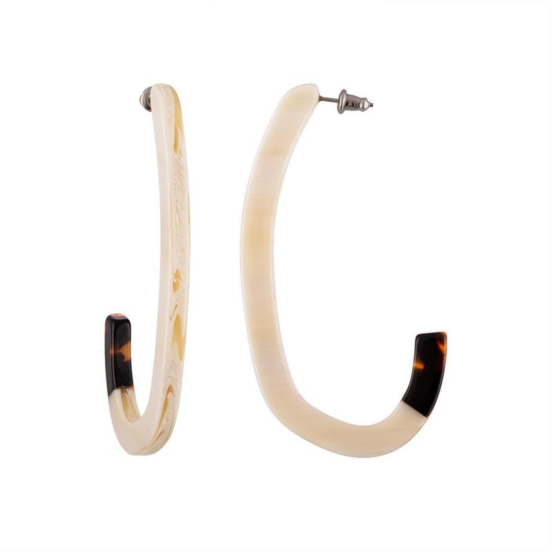 Margot Low Hoops in Alabaster