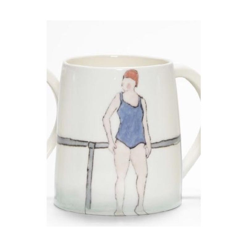 Swimmer Mug with Lady lilac costume, red cap