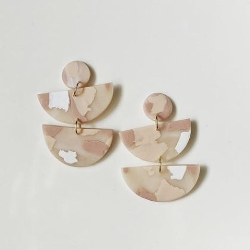 Blush Terrazzo Half Moon Earrings