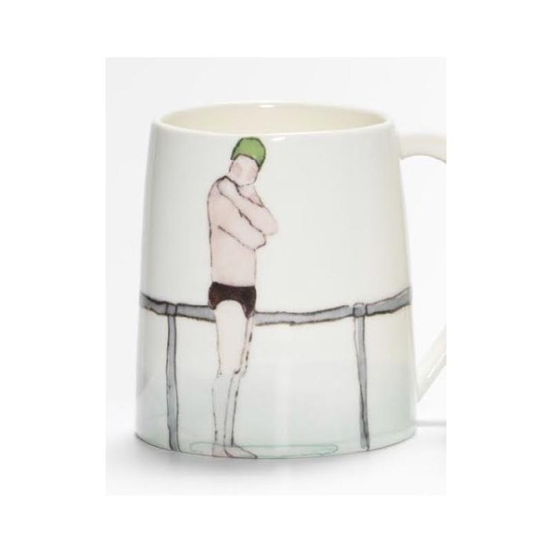 Swimmer Mug with Man black trunks, green cap