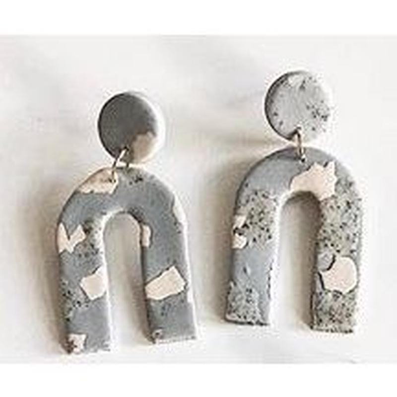 Fog Terrazzo  Arc Earrings