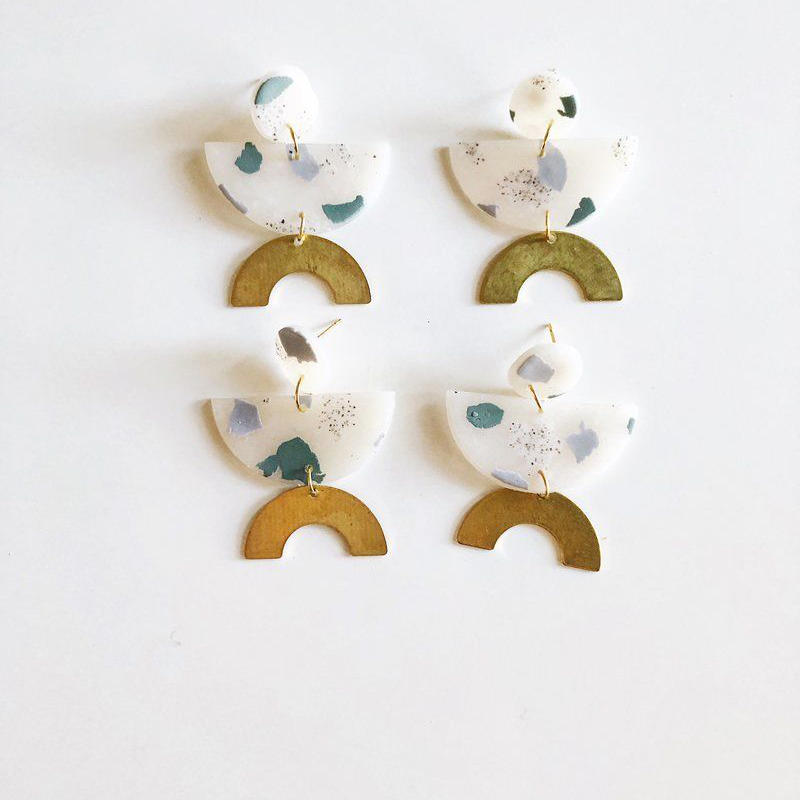 Sage Terrazzo James Earrings