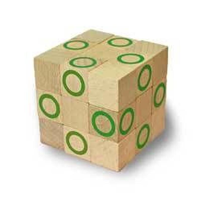 木製キューブ型パズル【コブラBIG/グリーン】