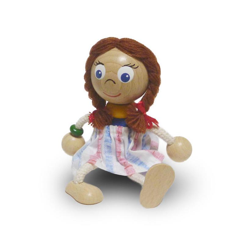 チェコおすわり人形 おさげ髪の少女withスカート