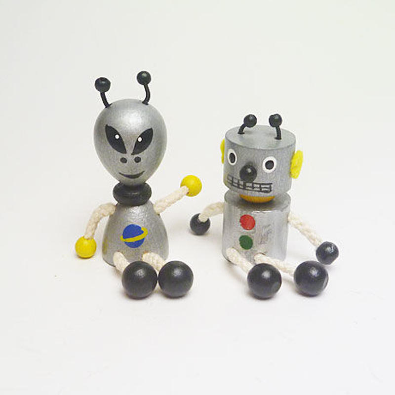 ミニ人形マグネット 宇宙人とロボット