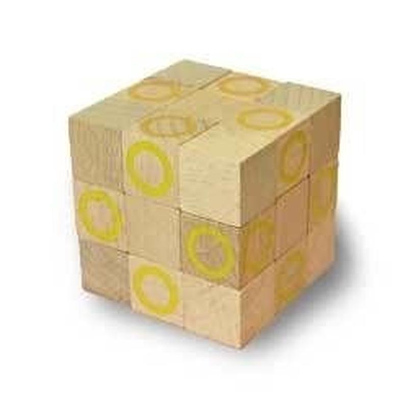 木製キューブ型パズル【コブラBIG/イエロー】