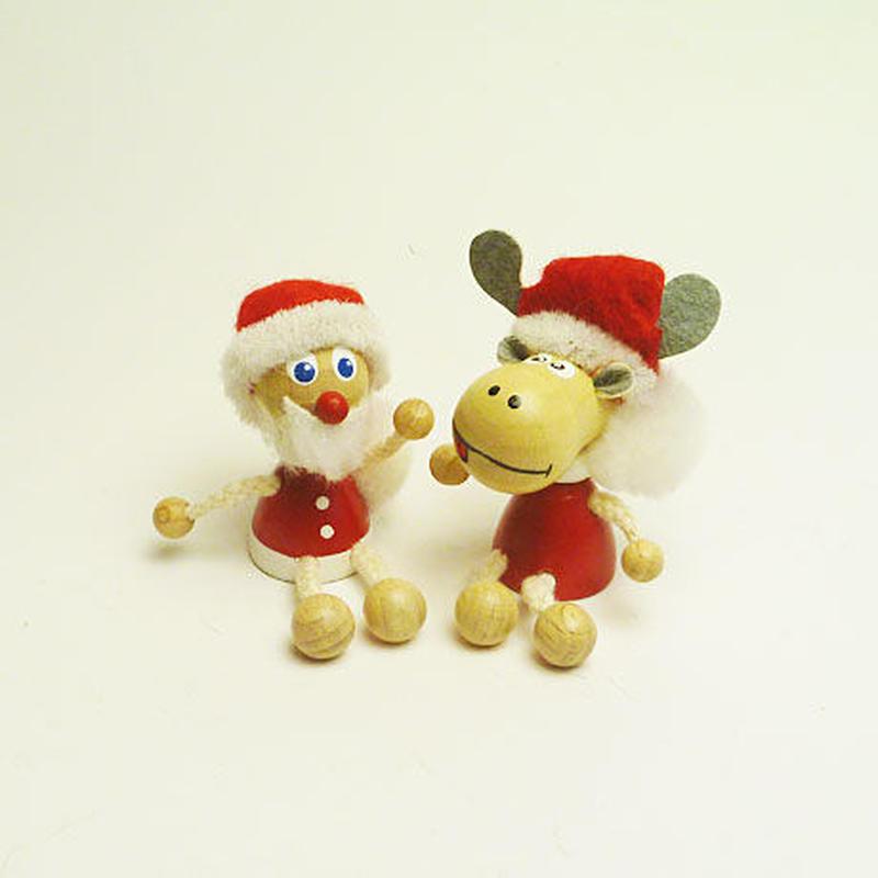 ミニ人形マグネット サンタとトナカイセット