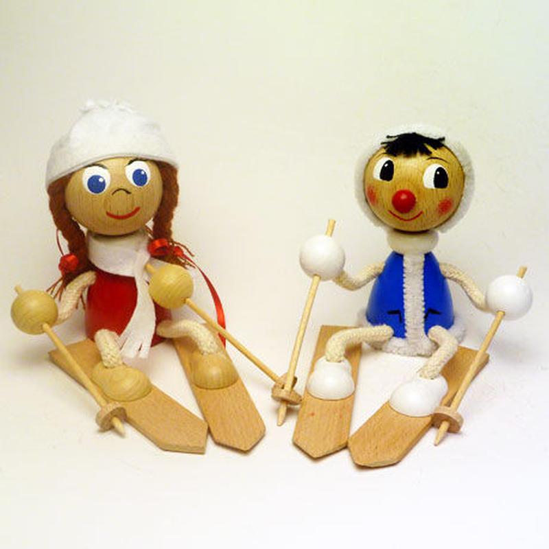 チェコおすわり人形 スキーペア ABAfactory