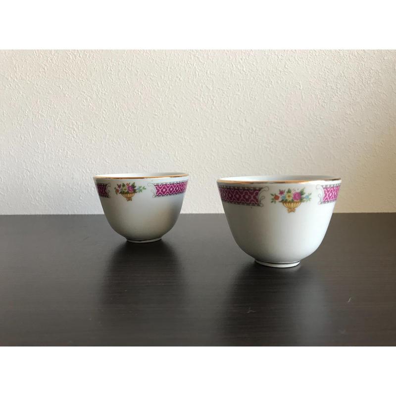 【香港☆中国制造】紅梅・茶杯   /  ゴールドライン
