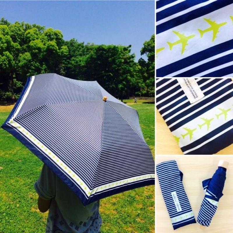 傘の縁をヒコーキが旋回❤️✨日傘兼用の折りたたみ傘♫