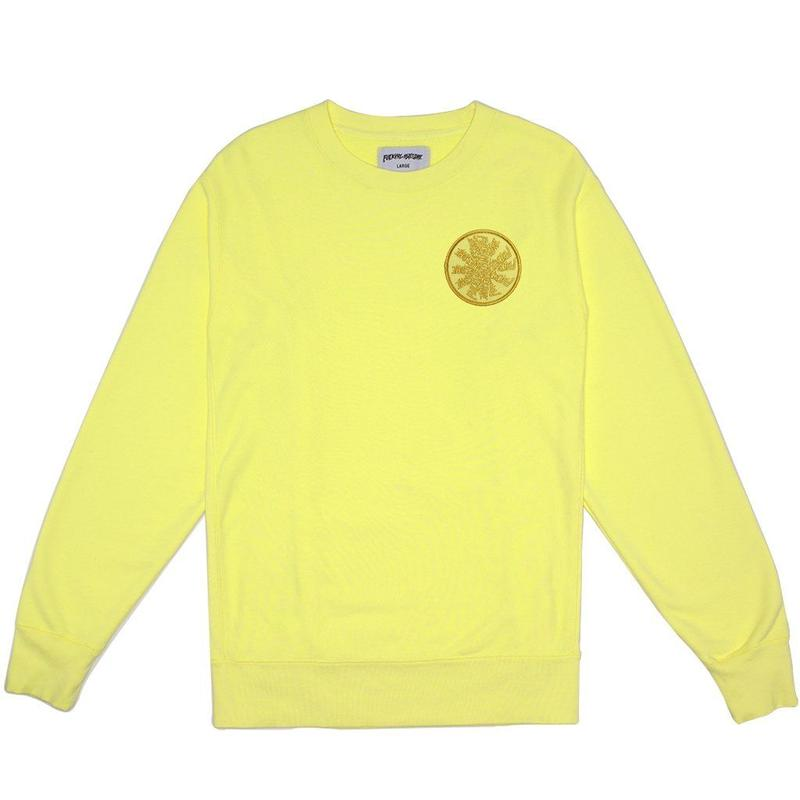 Fucking Awesome Spiral French Terry Crewneck - Light Yellow