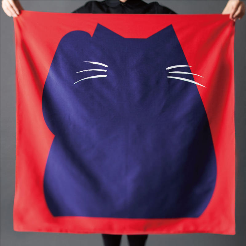 印染 風呂敷『猫』一匹 -  福よ来い、来い  -