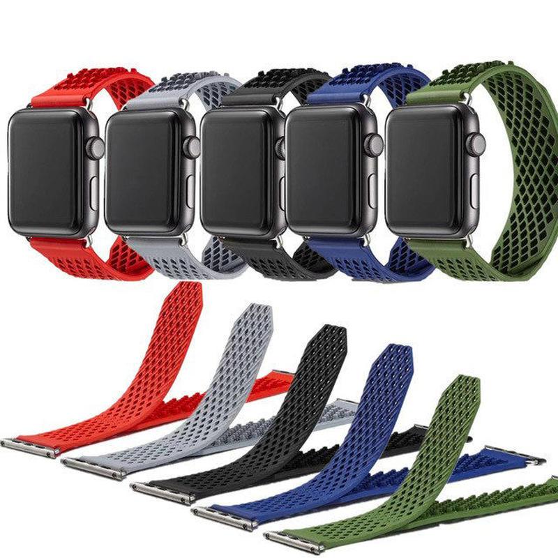 [NW583] ★Apple Watch belt 38mm/42mm ★ アップルウォッチ 替えベルト バンド シリコン メッシュ デザイン スポーツ メンズ