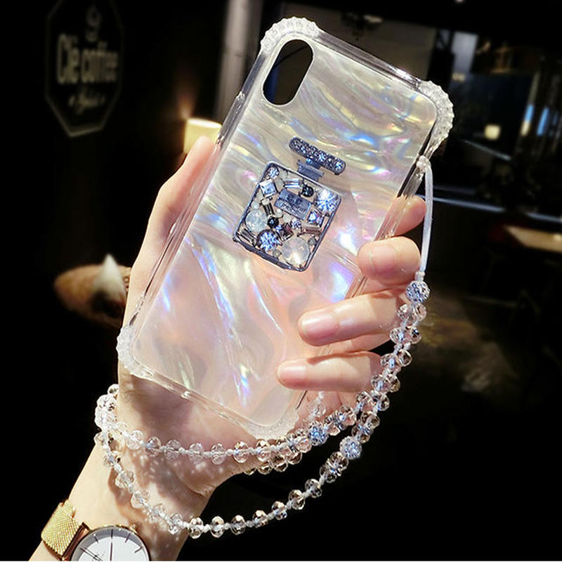 [NW563] ★ iPhone 6 / 6s / 6Plus / 6sPlus / 7 / 7Plus  / 8 / 8Plus / X ★ シェルカバー ケース 香水瓶 モチーフ キラキラ