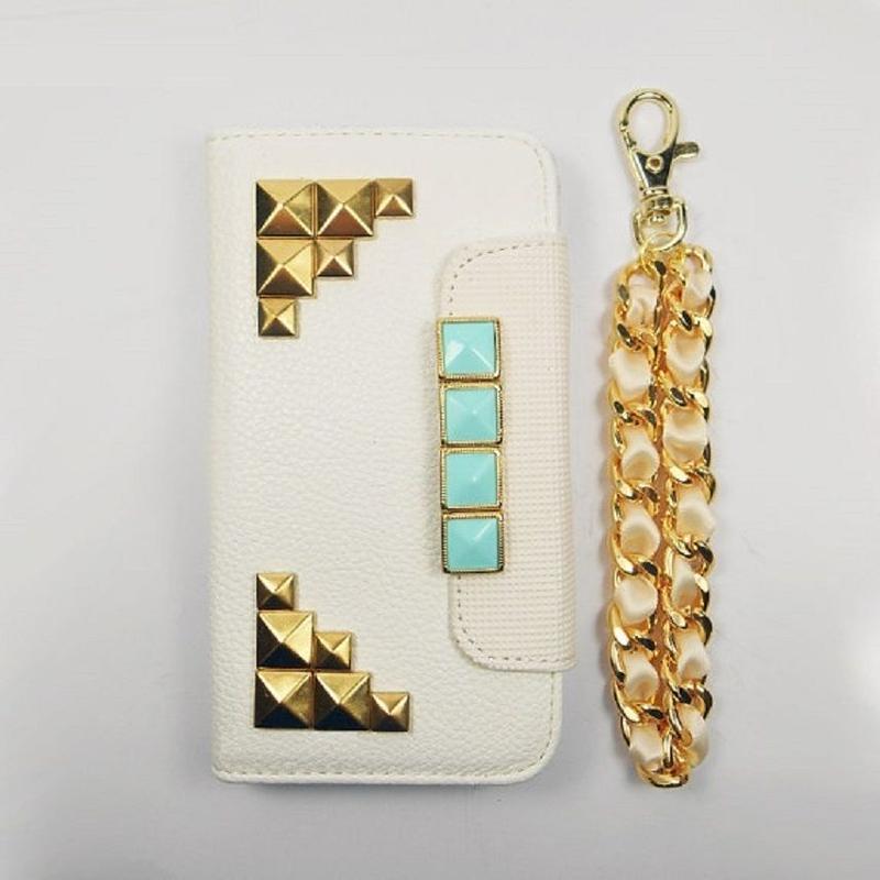 [YS044] iPhone5 /5s ケース ミント & ゴールド スタッズ リストレット スマホ カバー カード 手帳 財布 便利 ポーチ