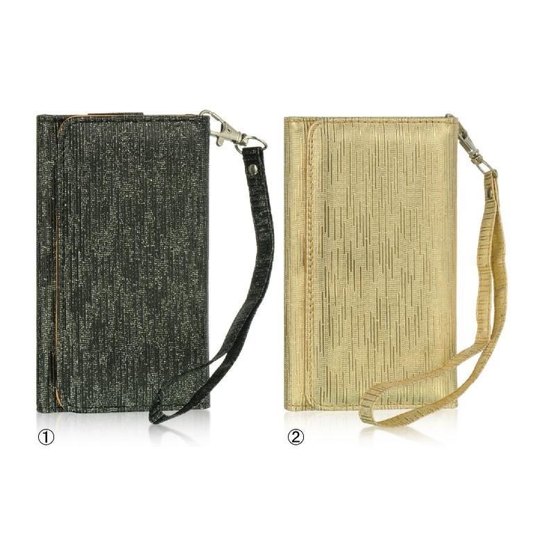 [YS032] iPhone5 /5s ケース シルキー リストレット ( ゴールド / ブラック ) スマホ ポーチ 手帳型 カード 財布 アイフォン
